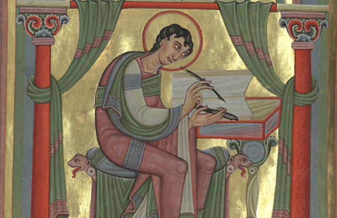 bild ur Kejsarbibeln på evangelisten Matteus som sitter och skriver vid sin pulpet