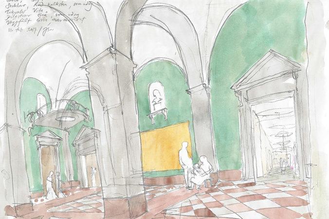 En skiss av entréhallen efter ombyggnationen