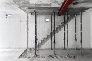Spår av en borttagen trapp