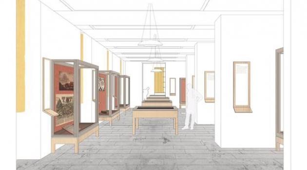 Skiss över nya utställningssalen