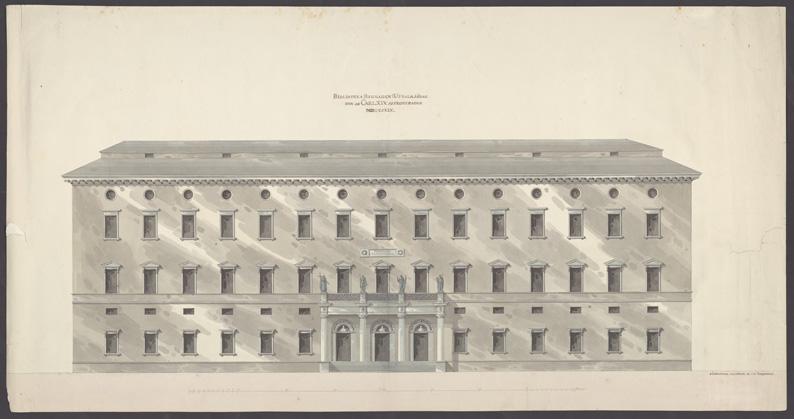 Ritning över Carolina Redivivas fasad 1899.